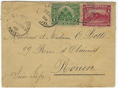 HAITI -small cover posted Port au Prince 26.6.1909 to Rouen, France - 073
