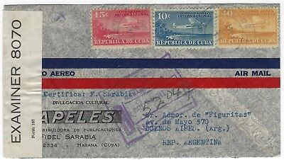 Airmail cover 14.10.1941 to Argentina, censored, Michel # 81,82,85 - 074