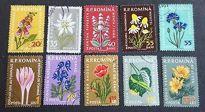 Flowers - Romania - 10 used stamps