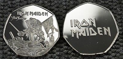 Iron Maiden Silver Commemorative Coin. Iconic 'The Trooper' Artwork  50p Albums