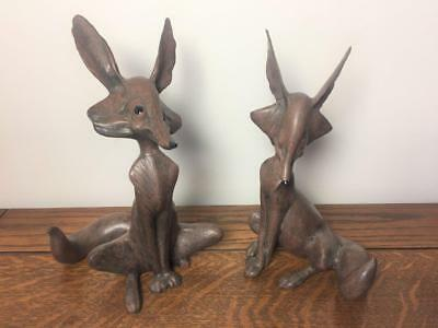 Lot of 2 Vtg Brown COYOTE SCULPTURES Anthony Freeman McFarlin California Pottery