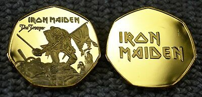 Iron Maiden Gold Commemorative Coin. Iconic 'The Trooper' Artwork  50p Albums