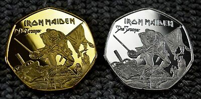 Iron Maiden Commemorative Coin duo set Iconic 'The Trooper' Artwork  50p Albums