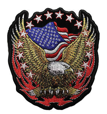 6 INCH American Flag Bald Eagle Embroidered iron On Patch - Biker Patriotic 001