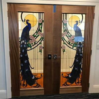 Incredible  Custom Hand Made Stained Glass - Peacock Doors - Csgmpd