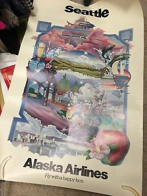 Alaska Airlines 1970s Seattle travel poster