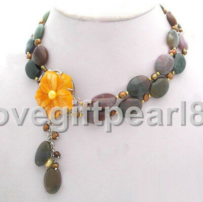 2 Rows Multicolor Agate Golden Pearl & Shell Flower Clasp Pendant Necklace
