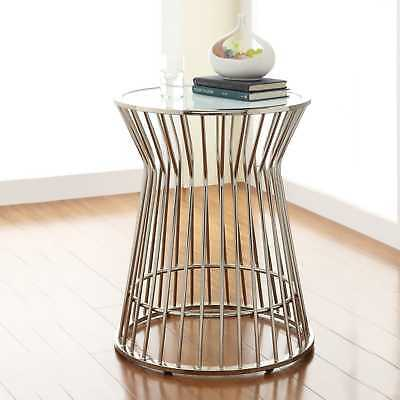 Contemporary Glam Metal Frosted Gl Drum Silver Accent Table