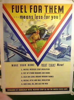 """ORIGINAL WWII POSTER C.1940s """"FUEL FOR THEM...MEANS LESS FOR YOU"""" TANK AIRPLANE"""