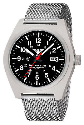 KHS Tactical Watches Steel Mesh Band Date Army Swiss Movemt C1-Light KHS.INCS.MS