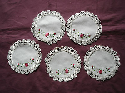 #928  Beautiful Vintage Embroidered  5 Linen Doilies  15cm(6'')