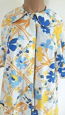 Vintage 1960s 1970's Loungewear Novelty Print Flowers Bees Nightgown AS IS Large