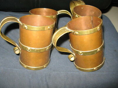 Vintage Hand Hammered Copper & Brass Mugs Cups 4