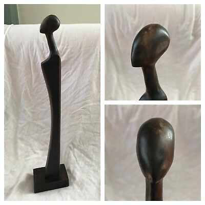 """VTG Mid-Century Modern African Wood Androgynous Male Female 17"""" Statue Carving"""