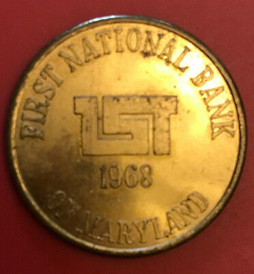 Vintage 1968 First National Bank of Maryland Nicodemus National Bank Token 75 Yr