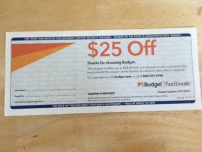 Budget Rental Car $25 Off Coupon: $25 Off Any Group C Rental or Above.