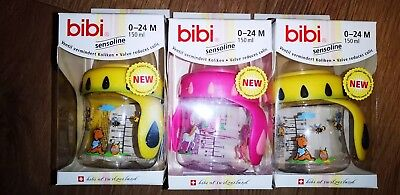 3 Bibi  Wide sensoline wide Neck Baby Bottle With Handles in pink and yellow.