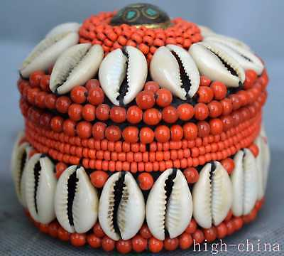 Collectable Tibetan Totem Carve Red Coral Bead Usable Ancient Noble Jewelry Box