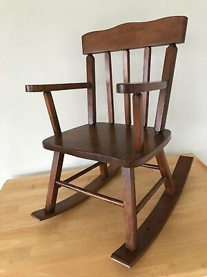 Antique Solid Wood Child's / Doll Rocking Chair. Missing Music Boxing