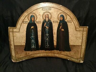 Antique Russian Orthodox Hand Painted Icon 'three Saints.created In 19 Century.