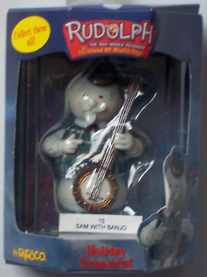SAM THE SNOWMAN Ornament With Banjo Rudolph Island of Misfit Toys  Rare Enesco