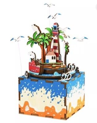 Vocational Island Theme Shape 3D Puzzle Building Blocks DIY Music Box Stem Toys