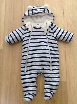 'Gap' Grey & Navy Striped Pramsuit Age 3-6 Months