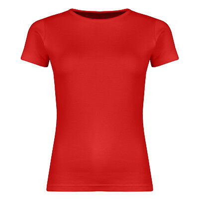 Ladies Slim Fit T Shirt Womens Short Sleeve Plain Stretch Cotton Crew Neck Top