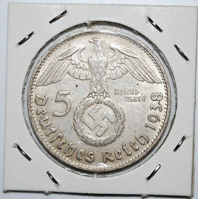 1938-D NAZI HINDENBURG 5 Mark .900 SILVER COIN-German WW2 GERMANY 5 ReichsMark