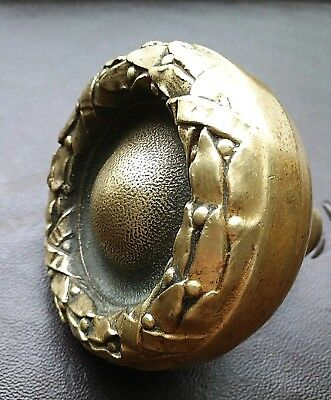 Antique Victorian Ornate Brass Bronze Door Knob - M -14510 Wreath Solid Cast