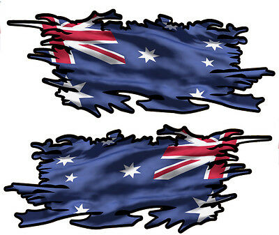 Australia Ripped Flag Left & Right Vinyl Decal 75Mm By 30Mm Gloss Laminated