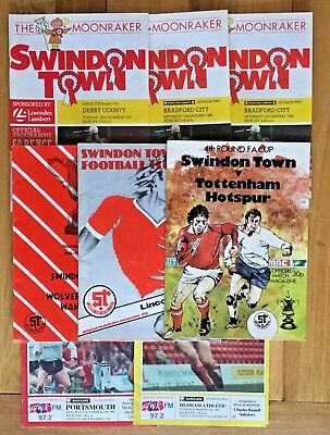 8 x Swindon Town Home Programmes - All Listed - includes Postponed game