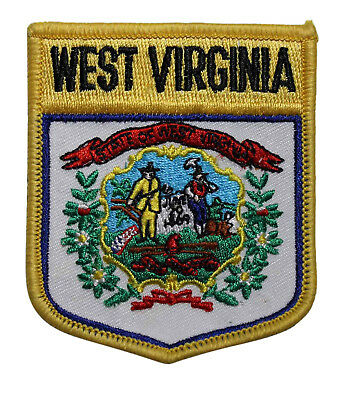 State Of West Virginia Flag Shield Iron On Patch - Travel Souvenir 220-M