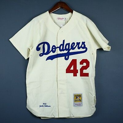 100% Authentic Jackie Robinson Mitchell Ness Dodgers 1955 Jersey Size 40 M Mens