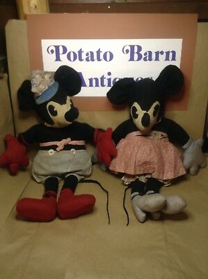 "Vintage Mickey & Minnie Mouse Dolls Original 24"" Tall 1930's Steamboat Willie"