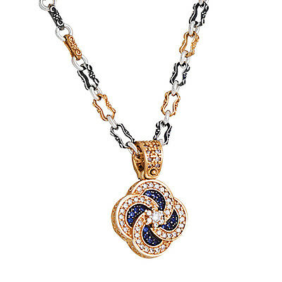 M274 ~ Sterling Silver and Zircon - Medieval Byzantine Pendant Necklace