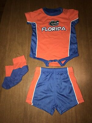 UF Florida Gators Baby Outfit One Piece Shorts Booties 0-3 Months