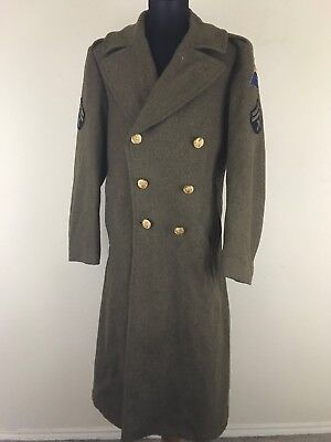 World War II WW2 Army Wool Trench Coat Overcoat Military Winter Vintage