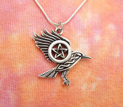 Celtic Raven Pentacle Necklace, Wiccan Pentagram Charm Pendant Wicca Pagan Gift