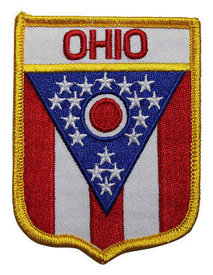 State Of Ohio Shield Flag Embroidered Iron On Patch - Travel Souvenir OH 221-D