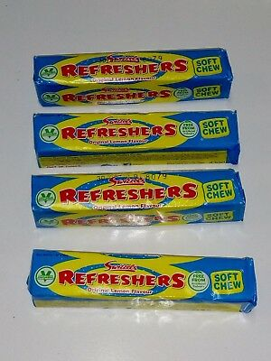 4 x UK  Swizzels Refresher Sticks Candy Tube, 43g each, original Lemon Flavour