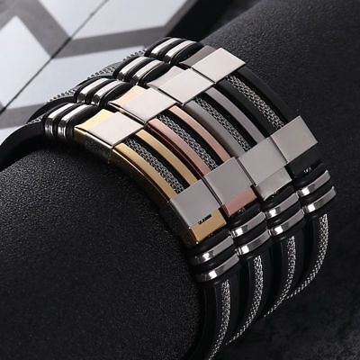 Bracelet Stainless Steel Silicone Men Wristband New Rubber Charm Geometric Chain