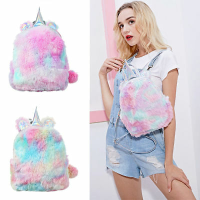 Soft Cute Travel Bags School Bag Rainbow Plush Girls Backbag Unicorn Backpack