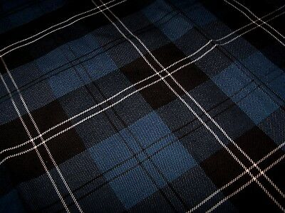 Scotland Geoffrey Tailor Highland Crafts Wool Black Blue Plaid Tartan Fabric