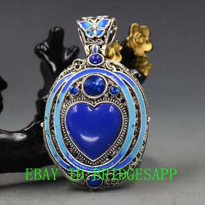 Chinese Copper Hand-carved Inlaid Cloisonne Lapis Lazuli & Zircon Pendant  A16