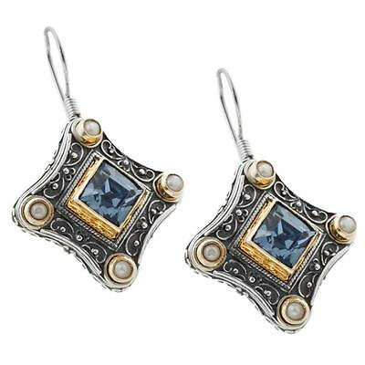 S196 ~ Sterling Silver,Swarovski and Pearls Medieval Earrings