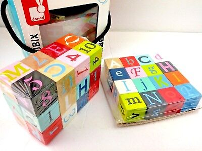 Janod Kubix 40 Colorful Wooden Letters Numbers Learning Toy Stacking Blocks Cube
