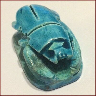 1 Large Vintage Egyptian Blue Carved Stone Lucky Charm/Beetle/Scarab/Amulet/Bead