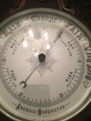 Antique Solid Oak Aneroid Barometer  &  Thermometer