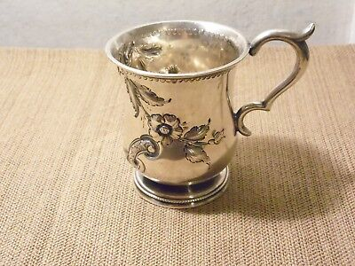 UNKNOWN SILVER FLORAL REPOUSSE CUP (Lot #5) – UNMARKED - 4.00 OZ. TROY